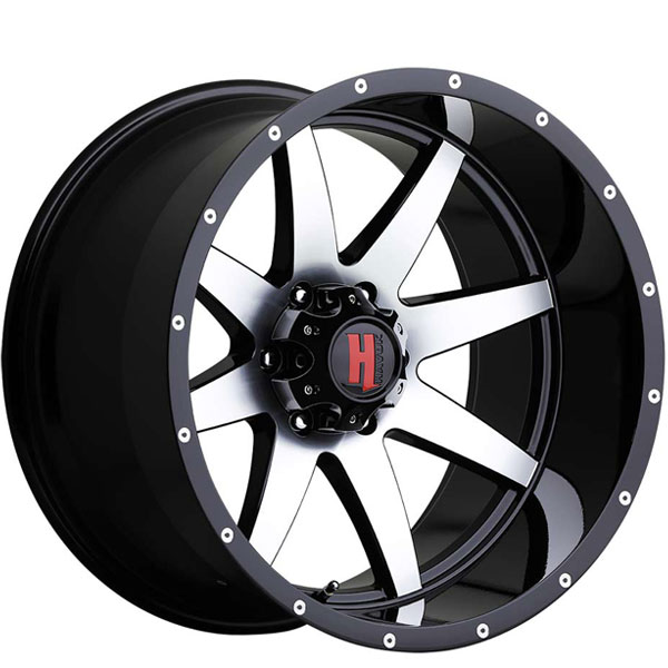 Havok Off-Road H112 Gloss Black with Machined Face