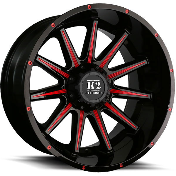 K2 OffRoad K10 Tanker Gloss Black with Red Milled Spokes