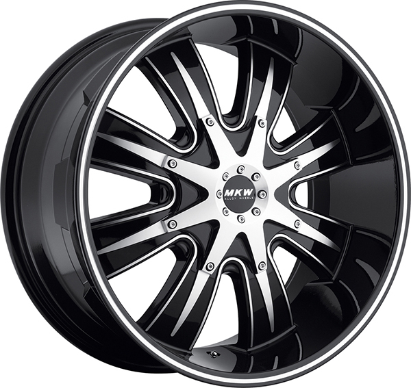 MKW M82 Gloss Black with Machined Face and Stripe 8 Lug