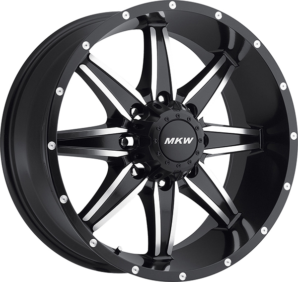 MKW M89 Satin Black with Machined Face and Black Lip 8 Lug