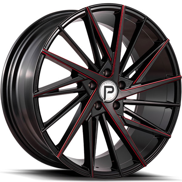 Pinnacle P208 Snazzy Gloss Black with Red Milled Spokes