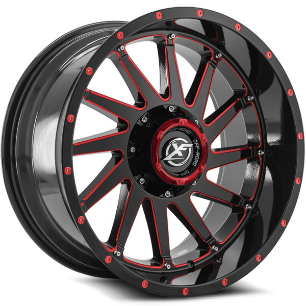 XF Off-Road XF-216 Gloss Black with Red Spokes